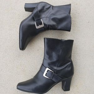 PREDICTIONS Square Toe Buckled Heeled Boots, 8